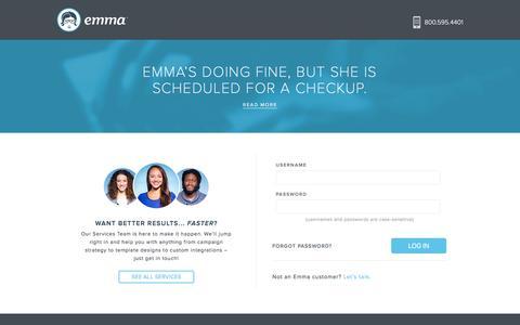 Screenshot of Login Page myemma.com - Login   Emma, Inc. - captured Sept. 15, 2016
