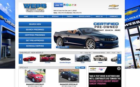Screenshot of Home Page webbchevroletoaklawn.com - Chicago Chevrolet Dealer | Webb Chevrolet Oak Lawn, IL - captured Oct. 9, 2014
