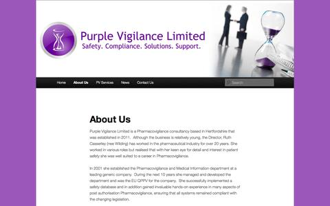 Screenshot of About Page purplevigilance.co.uk - About Us | Purple Vigilance Limited - captured Oct. 3, 2014