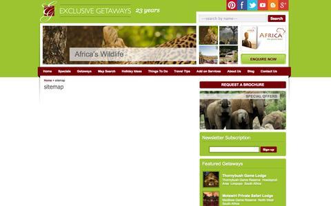 Screenshot of Site Map Page exclusivegetaways.co.za - sitemap | Exclusive Getaways - captured Sept. 23, 2014