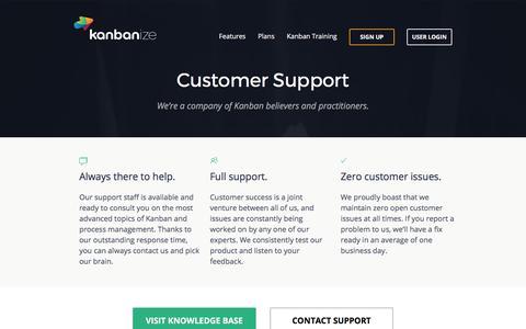 Screenshot of Support Page kanbanize.com - Customer Support - captured Sept. 13, 2017