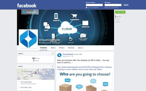 Screenshot of Facebook Page facebook.com - DreamingCode - Boston, MA - Professional Services | Facebook - captured Oct. 23, 2014