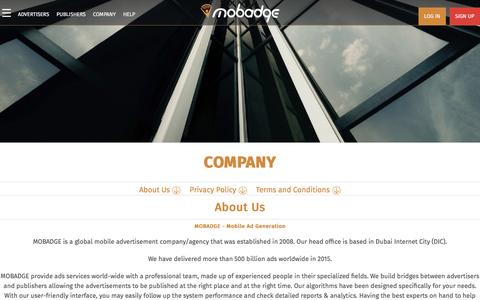 Screenshot of About Page Privacy Page mobadge.com - Mobadge - Mobile Advertisement Generation - Company - captured May 25, 2017