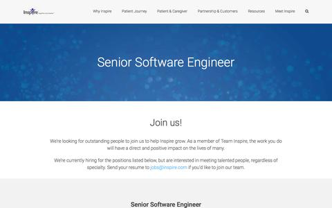 Screenshot of Jobs Page inspire.com - Senior Software Engineer | Join our team! • INSPIRE - captured April 18, 2017