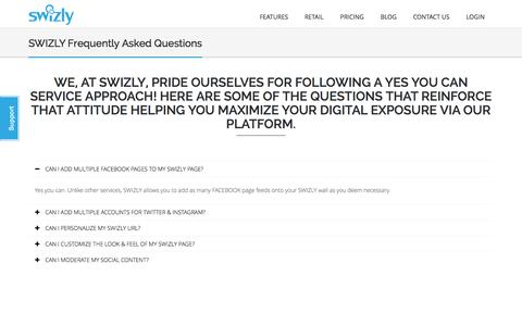 Screenshot of FAQ Page swizly.com - SWIZLY 3.0 | FAQ - captured Sept. 30, 2014