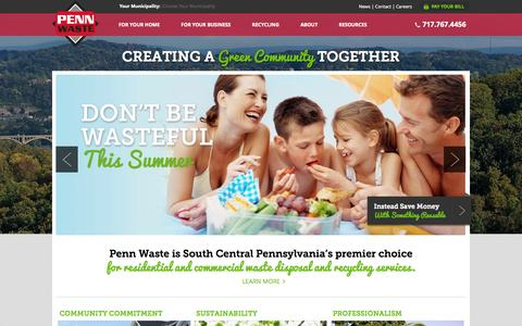 Screenshot of Home Page pennwaste.com - Waste Collection – Waste Disposal Services – Pennsylvania - captured Sept. 27, 2014