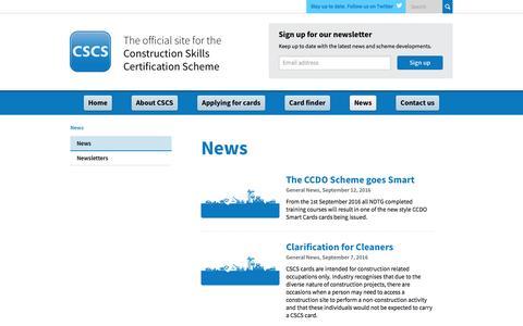 Screenshot of Press Page cscs.uk.com - Construction Skills Certification Scheme | Official CSCS Website - News - captured Oct. 12, 2016