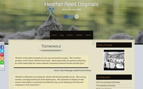 Screenshot of Testimonials Page heatherreedoriginals.com - Testimonials | Heather Reed Originals - captured Sept. 29, 2014