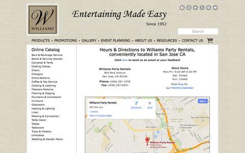 Screenshot of Contact Page willparty.com - How to contact Williams Party Rentals in San Jose CA | Hours & Directions to Williams Party Rentals in Santa Clara CA, San Jose, Los Gatos, Campbell, Los Altos, Sunnyvale CA - captured Nov. 3, 2014