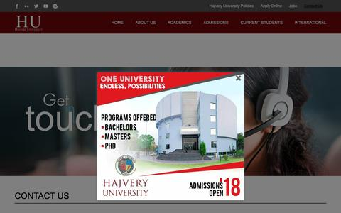 Screenshot of Contact Page hup.edu.pk - Contact Us – Hajvery University (HU) - captured Sept. 26, 2018