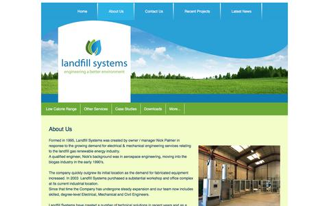 Screenshot of About Page landfillsystems.co.uk - About Us   Landfill Systems   Landfill Gas Renewable Energy - captured Jan. 7, 2020