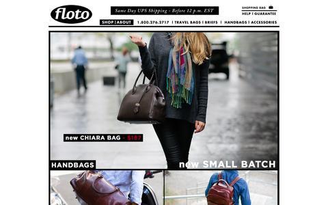 Screenshot of Home Page flotoimports.com - Floto Leather Bags - Official Store - captured Nov. 10, 2015