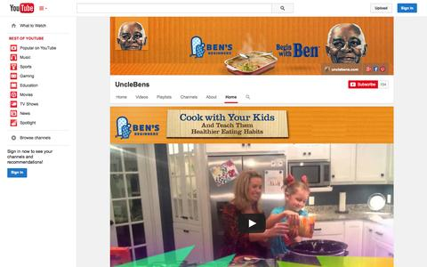Screenshot of YouTube Page youtube.com - UncleBens  - YouTube - captured Oct. 31, 2014