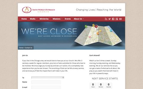 Screenshot of Contact Page fwo.org - Contact Us - Faith World Outreach Church - captured Oct. 5, 2014