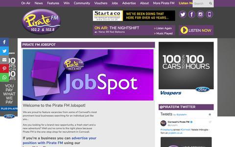 Screenshot of Jobs Page piratefm.co.uk - Pirate FM - Pirate FM Recruitment - captured July 18, 2018