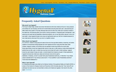 Screenshot of FAQ Page hygenall.com - Hygenall - Frequently Asked Questions - Lead Wipes, Lead Decontamination, Hexavalent Chromium, Hexchrome - captured Oct. 3, 2014