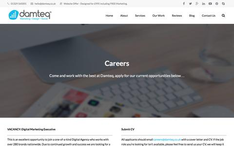 Screenshot of Jobs Page damteq.co.uk - Web Design Jobs in Hampshire - If you're good, let us know! - captured Nov. 12, 2015