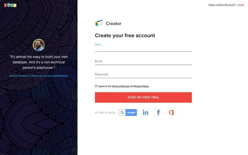 Zoho Creator: Create your free account