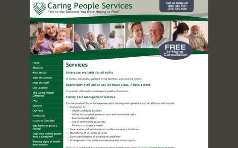 Screenshot of Services Page elderly-care.biz - Caring People Services-Professional Caregivers - captured June 24, 2016