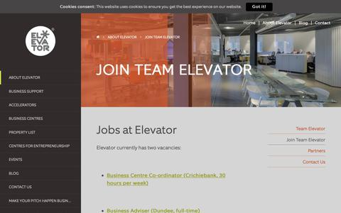 Screenshot of Jobs Page enetrust.com - Work at Elevator - Job Opportunities - Elevator UK - captured Sept. 28, 2018