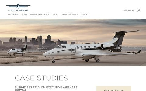 Screenshot of Case Studies Page execairshare.com - Compare Fractional Aircraft Ownership with these Case Studies. - captured Sept. 30, 2018