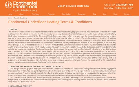 Screenshot of Terms Page ufh.co.uk - Continental Underfloor - Terms & Conditions - captured Nov. 11, 2016