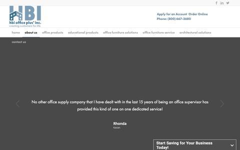 Screenshot of Testimonials Page hbiop.com - Testimonials – HBI Office Plus – Office Plus Regina - captured Sept. 30, 2018