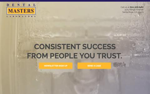 Screenshot of Home Page dentalmasters.com - Dental Masters – Consistenent Success from People You Trust - captured Oct. 8, 2018
