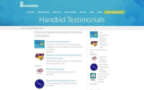 Screenshot of Testimonials Page handbid.com - Handbid Testimonials | Mobile Silent Auction Platform | Handbid - captured May 14, 2017