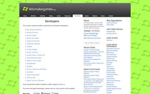 Screenshot of Developers Page letsmakegames.org - Developers «  Let's Make Games - captured Sept. 19, 2014