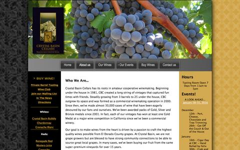 Screenshot of About Page crystalbasin.com - Crystal Basin Cellars the best Winery in Camino, El Dorado County, California - captured Feb. 1, 2016