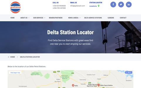Screenshot of Locations Page galanaoil.com - Delta Station Locator - Galana Oil (K) Limited - captured Sept. 25, 2018