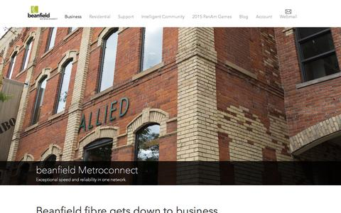 Screenshot of Home Page beanfield.com - Fibre Business Services | beanfield Metroconnect - captured Sept. 22, 2014