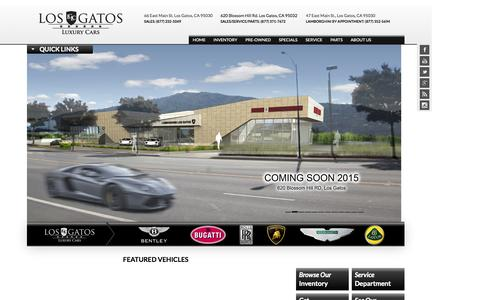 Screenshot of Home Page losgatosluxcars.com - Los Gatos Luxury Cars | San Jose, CA New & Used Cars - captured Oct. 3, 2014