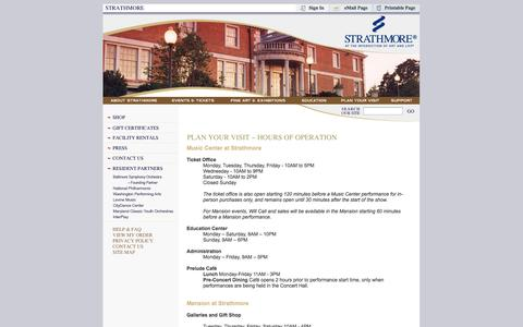 Screenshot of Hours Page strathmore.org - Strathmore - Plan Your Visit - Hours of Operation - captured Sept. 23, 2014