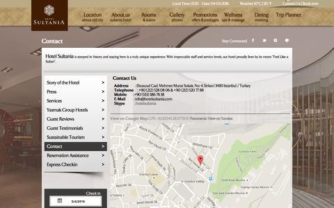 Screenshot of Contact Page hotelsultania.com - Contact us   Hotel Sultania Official Website, Istanbul - Feel like Sultan - captured March 4, 2016