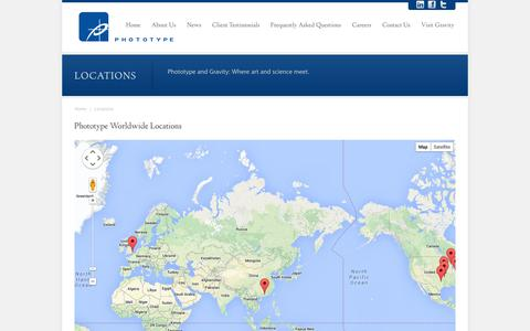 Screenshot of Locations Page phototype.com - Locations - captured Sept. 26, 2014