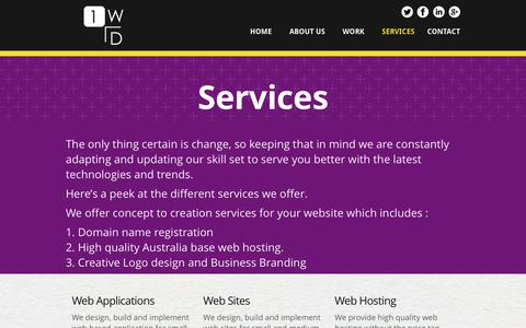 Screenshot of Services Page 1webdesign.com.au - Services | 1webdesign - captured Feb. 23, 2016