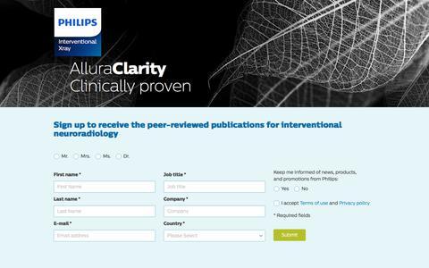 Screenshot of Landing Page philips.com - AlluraClarity - Neuro   Philips - captured May 21, 2018