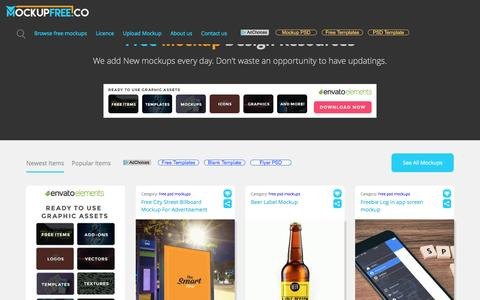 Screenshot of Home Page mockupfree.co - Best Free PSD Mockups download - captured May 7, 2017