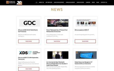 Screenshot of Press Page dhruva.com - News about Dhruva Interactive   Game design and development company  Xbox game development in India - Dhruva Interactive - captured March 17, 2018