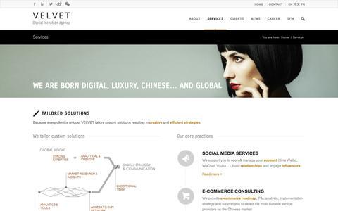 Screenshot of Services Page velvetgroup.com - Velvet | Services - VELVET - captured Oct. 7, 2014
