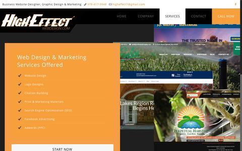 Screenshot of Services Page higheffect.com - Services - Website Design & Development, SEO - High Effect Web Design - captured July 6, 2018