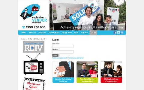 Screenshot of Login Page exclusivevendoradvocates.com.au - Login - captured Sept. 30, 2014