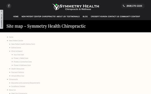 Screenshot of Site Map Page symmetryhealthchiro.com - Site map - Symmetry Health Chiropractic - captured Oct. 18, 2018
