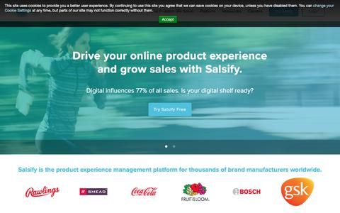Screenshot of Home Page salsify.com - Product Experience Management Platform | Salsify - captured May 28, 2018