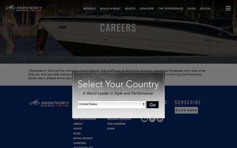 Screenshot of Jobs Page montereyboats.com - Careers | Work With Us | Join Our Team | Monterey Boats - captured July 23, 2019