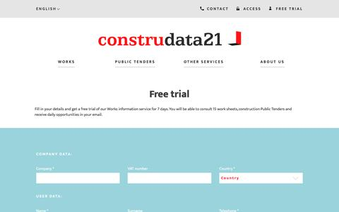 Screenshot of Trial Page construdata21.com - Try it free: Try Works information 7 days | 15 free worksheets :: Internet Construdata21 S.A. - captured Oct. 15, 2017