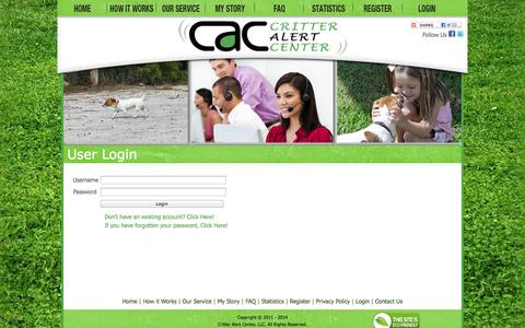 Screenshot of Login Page critteralertcenter.com - CritterAlertCenter.com  - User Login - captured Oct. 3, 2014