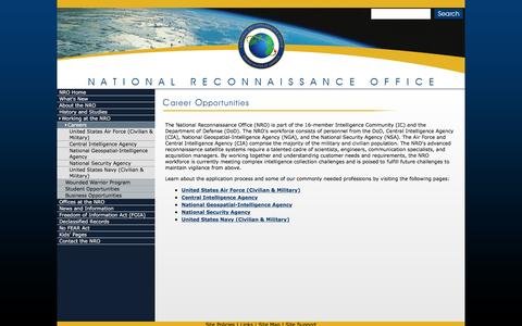 Screenshot of Jobs Page nrojr.gov - NRO - Career Opportunities - captured March 5, 2016